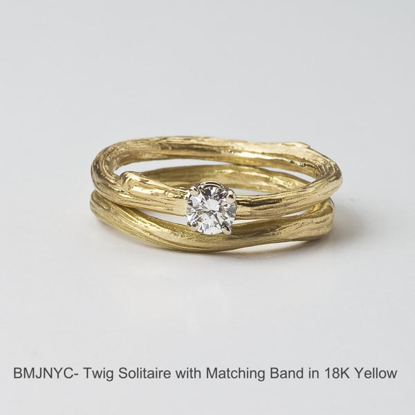 Solitaire diamond engagement ring with twig band -- a nature inspired wedding set by Barbara Polinsky.