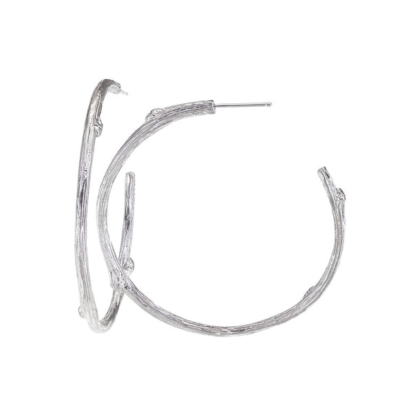 "Timeless sterling silver Twig Hoop Earrings 1.5"" in diameter.  Designed by Barbara Polinsky."