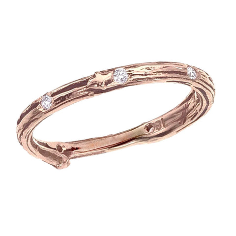 Twig band with spaced diamond accents, shown in rose 18K eco friendly gold.  Designed by Barbara Polinsky.