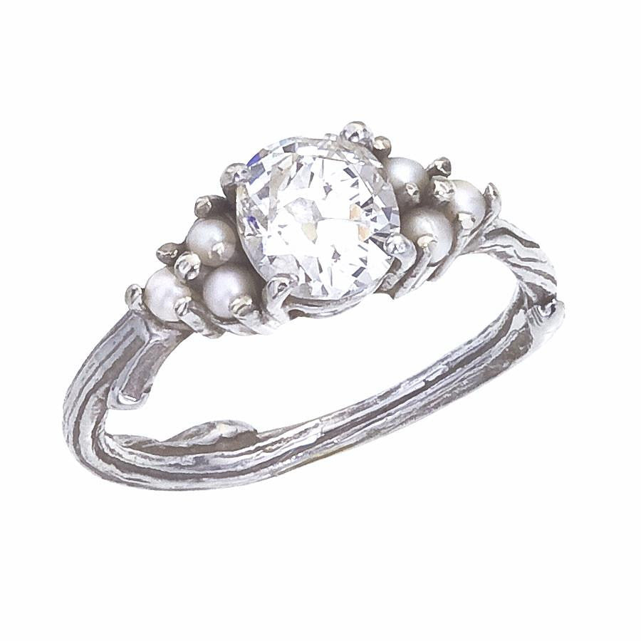 hand white engagement custom ring and pearl pearls halo diamond rings