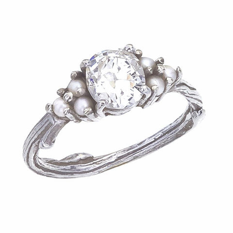Custom Antique Diamond and Pearl Engagement Ring with nature inspired twig band
