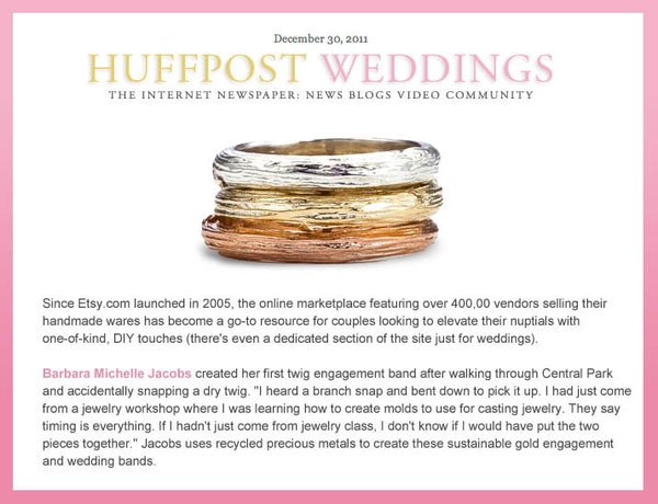 Branch wedding bands as featured in Huffpost Weddings.