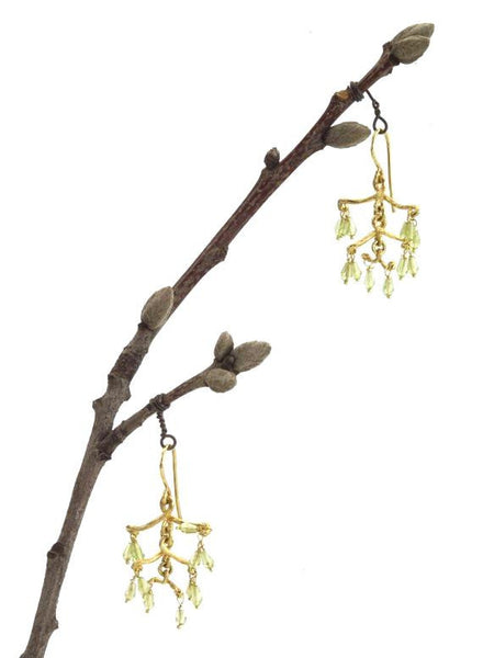 Nature Inspired Chandelier Earrings from NYC Twigs in 18K Yellow Gold - Eco Friendly.