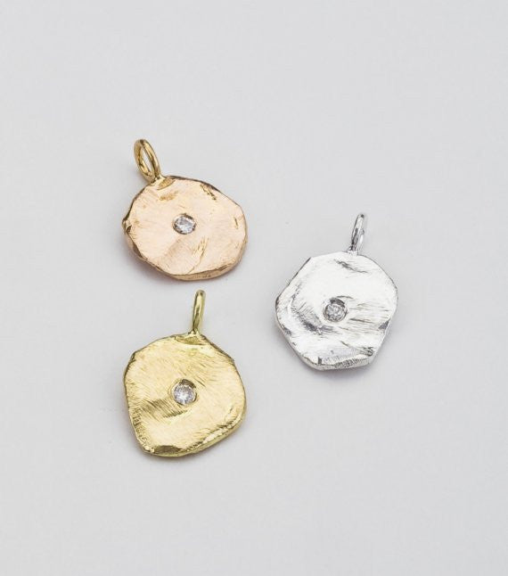 Perfectly imperfect gold pendant necklace barbara michelle jacobs perfectly imperfect round gold pendant shown in rose yellow and white gold accented in aloadofball Images