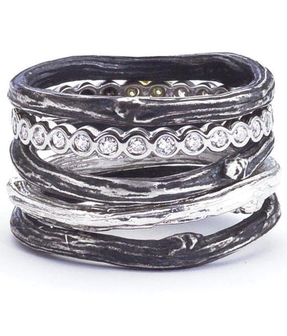 Stacking twig rings in shiny sterling silver, oxidized sterling silver and 18K gold.