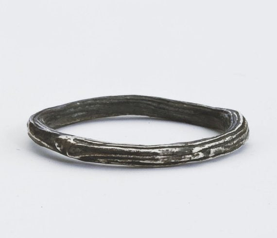 Oxidized sterling silver twig band.