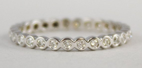Starry Night Eternity Band.  Thin diamond eternity ring to wear as a wedding band or as part of a stack of rings.