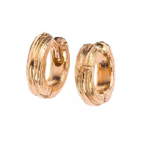 Branch style huggie earrings. 18K recycled gold.