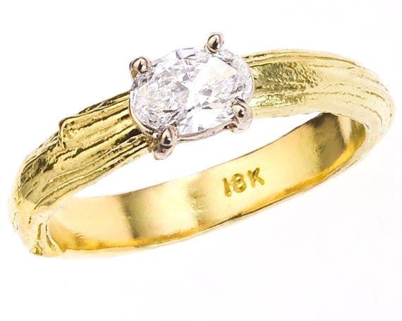 Branch Solitaire Engagement Ring with Oval Diamond by Barbara Polinsky.