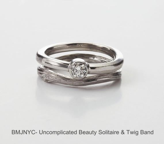 Opposites Attract Ring Set - Twig Wedding Band with Simple Diamond Engagement Ring with Bezel in White Gold, Made in NY