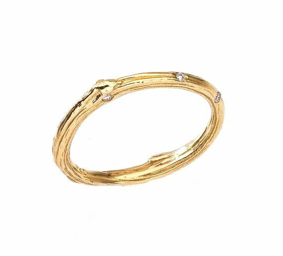 twig wedding band with small diamonds 18K