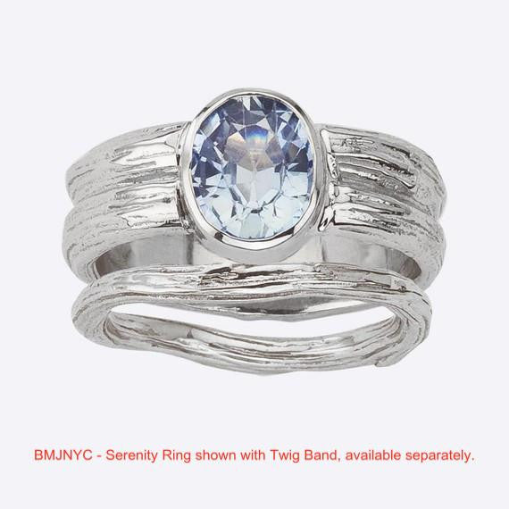 Sky Blue Sapphire Serenity Ring paired with a Twig Band for an unusual wedding set.