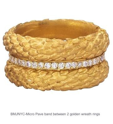 Micro Pave Diamond Eternity Band stacked between two branch bands in 18 K recycled gold.