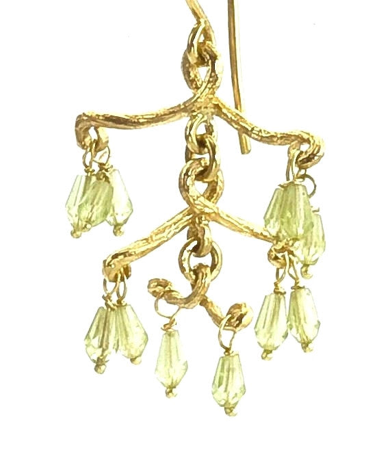 Chandelier twig earrings with peridot dangles barbara michelle twig chandelier earrings with peridot 18k recycled gold multi level mozeypictures Choice Image