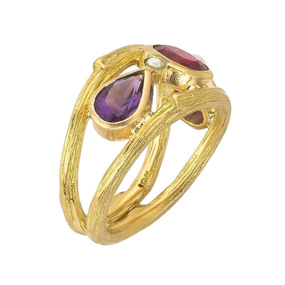 Side view of ruby, amethyst and pearl twig ring. Designed by Barbara Polinsky.