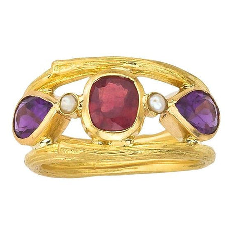 Bezel set ruby, amethyst and pearl twig ring made with eco friendly recycled gold.