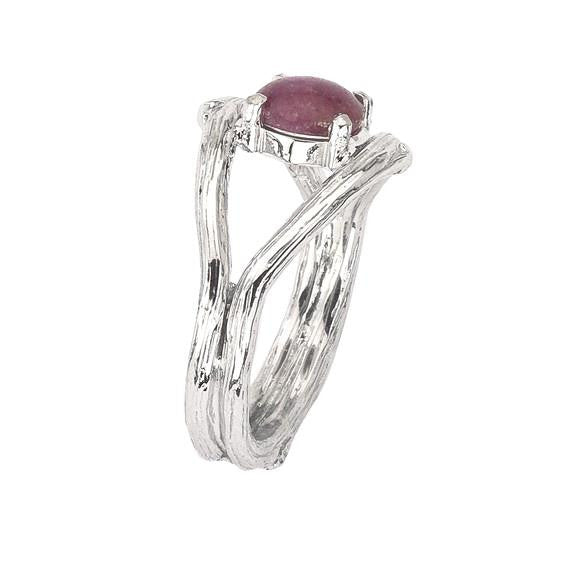 Pink Star Sapphire Twig Ring in White 18K Recycled Gold.