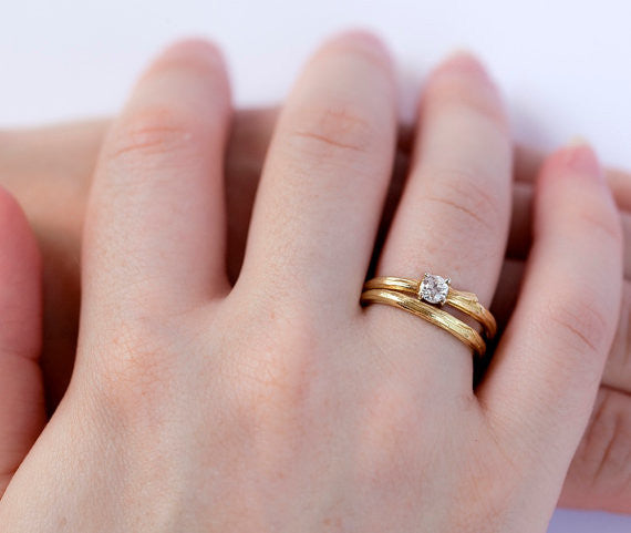 Ideal Twig Bridal Ring Set Barbara Michelle Jacobs Jewelry