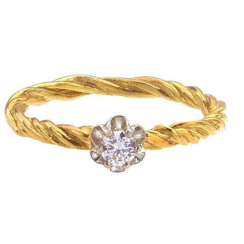 Vine Buttercup Solitaire Diamond Ring in 18K Recycled Gold.