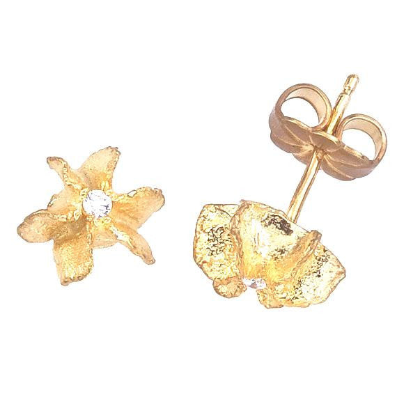 White topaz accented gold flowers on a post earring.  18K eco friendly gold.