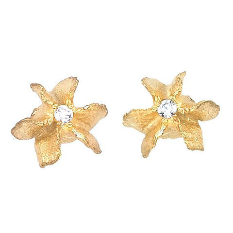 18K gold flowers with white topaz center on a post earring. Designed by Barbara Polinsky.