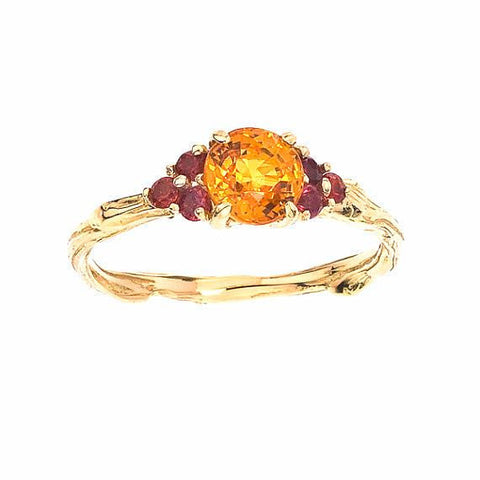 Orange and Red Sapphires for an autumnal burst of colors on a sparkling twig ring.