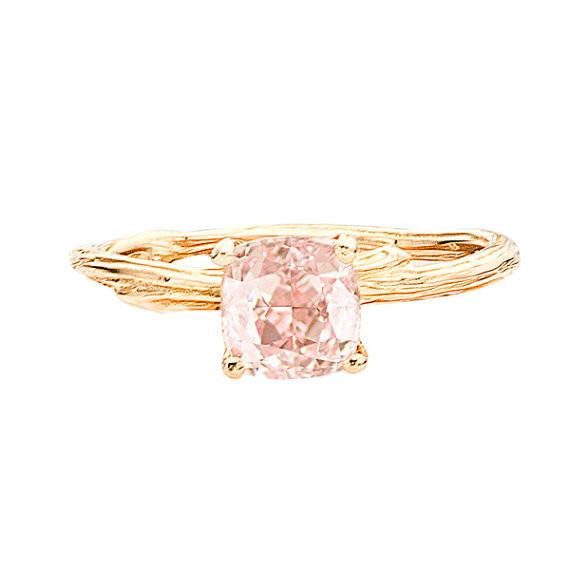 Solitaire Morganite Twig Ring in 18K Recycled Gold by Barbara Polinsky.