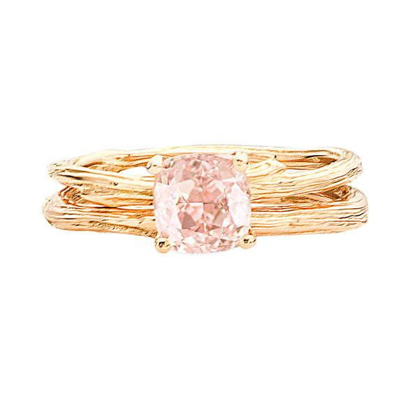 Solitaire Morganite Twig Ring with Twig Band to make a lovely wedding set.
