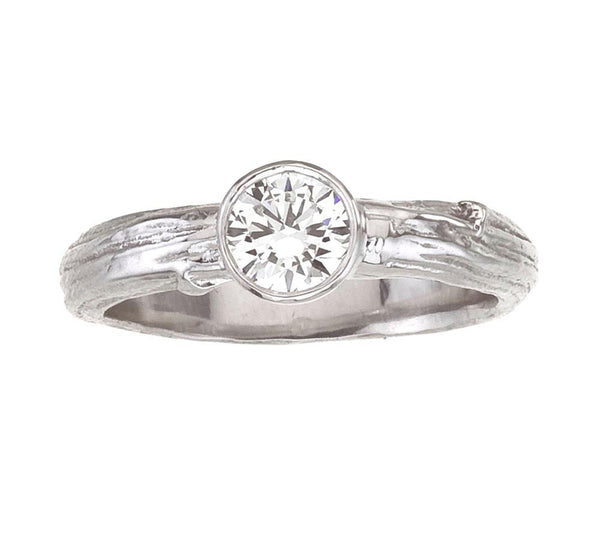 Diamond Engagement Ring - Solitaire with bezel set diamond on New York City Twig Branch Band in White Gold - half carat