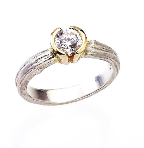 Half Bezel Diamond Twig Ring. Unique two tone 18K gold faux bois engagement ring. GIA certified three quarter carat diamond.