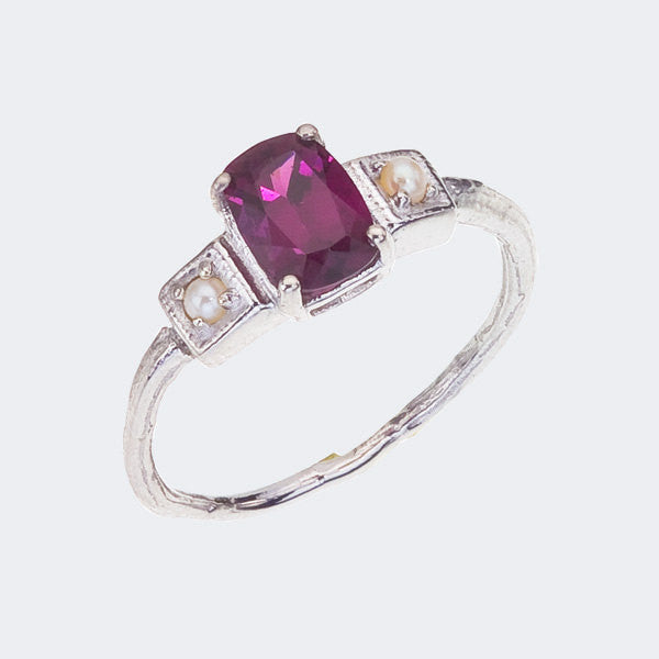 Grape Garnet ring with pearls, 1920's Art Deco Inspired, Cushion Cut, White Gold