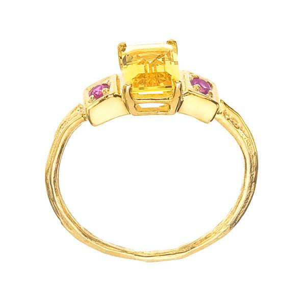 Side view of Golden Beryl Emerald Cut Gemstone Ring showing wood grain detailing on band.
