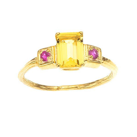 Art Deco inspired golden beryl emerald cut gemstone ring. 18K recycled gold.