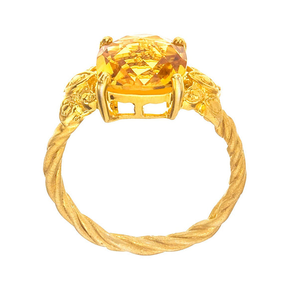 Citrine Cocktail Ring - Side View, Yellow Gold and Butterflies.
