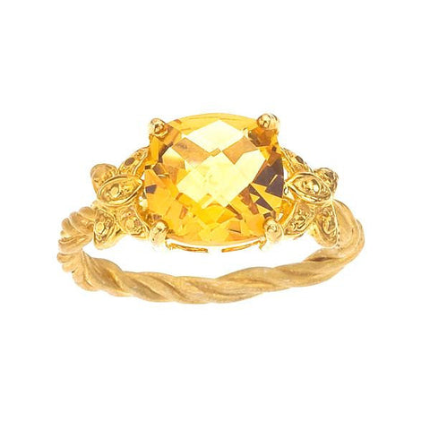 Citrine Ring with Large Cushion Cut Stone, Yellow Gold with Twisted Vine Band and Butterflies, Prong Setting.