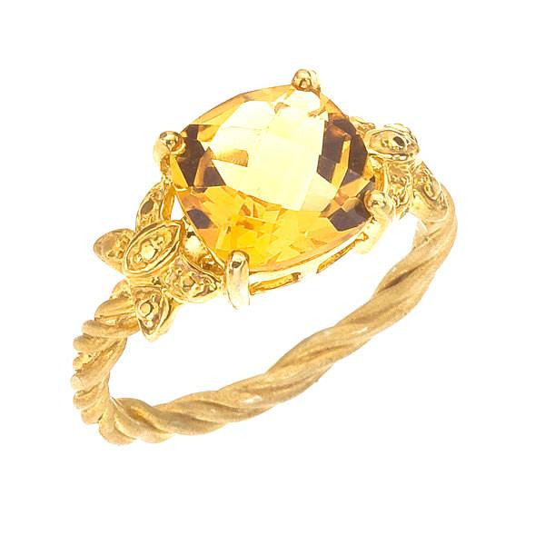 Citrine Cocktail Ring with Butterflies, Yellow Gold, Vines and Prong Setting.