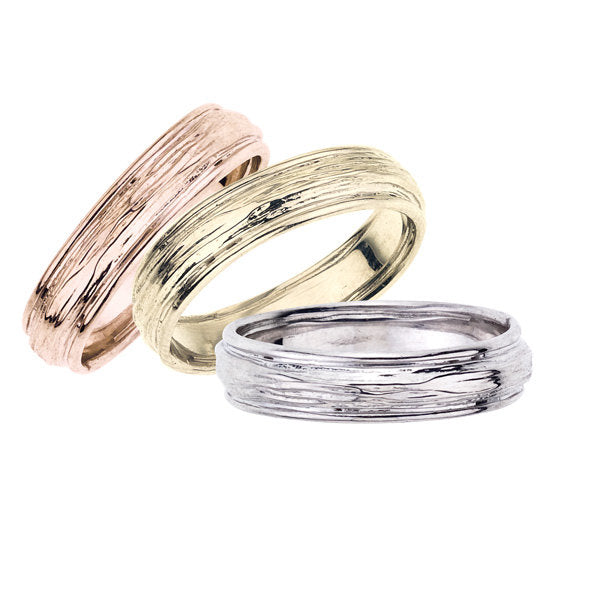 Polished Edge Band - a variation on our popular Branch Band for men.  Available in rose, yellow and white 18K recycled gold.