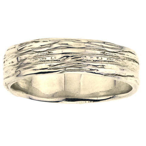 Wide Branch Band.  Men's wedding ring with organic branch details, yellow gold, eco friendly.  Designed by Barbara Polinsky.