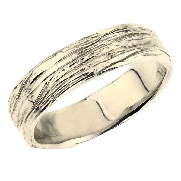 Mens wide wedding ring, nature inspired branch details, yellow gold, eco friendly.