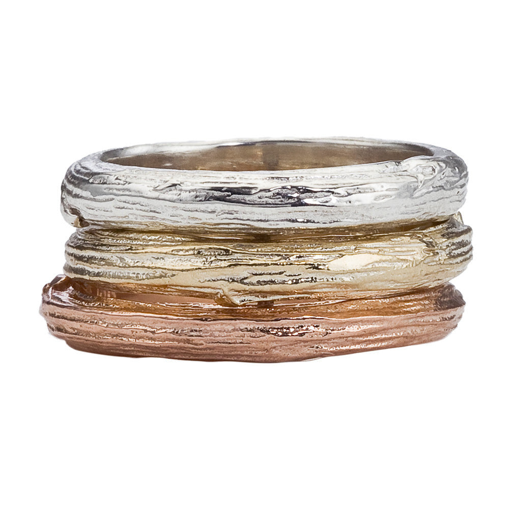 Branch Band For Men And Women, Recycled White, Yellow Or Rose Gold, Rustic
