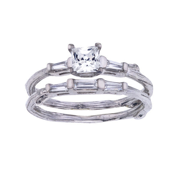 Nature Inspired Princess Cut Diamond Ring Set with Baguettes in 18K White Gold.  Rustic Branch Details, Handmade in NYC.