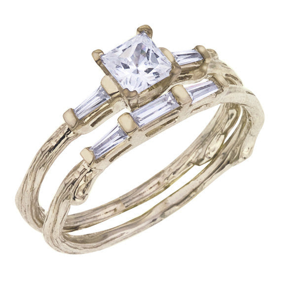 Princess Cut Diamond Ring with Baguettes and Matching Band.  Tree Branch Details, Shown in Yellow Gold.
