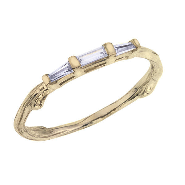 baguette wedding ring nature inspired twig branch design pictured in yellow gold - Nature Inspired Wedding Rings