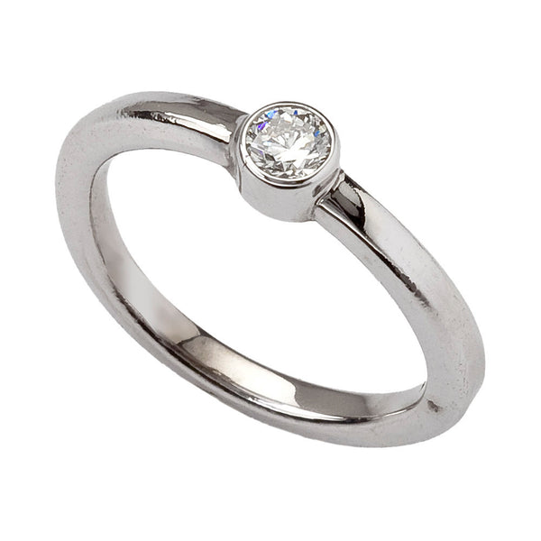 Modern Engagement Ring with Bezel Set Round Diamond in 18K Recycled Gold