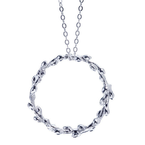 Circle necklace from a fringe tree branch, nature inspired of recycled sterling silver.