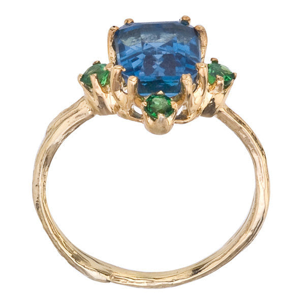 Blue Topaz and Tsavorite Ring - Side View