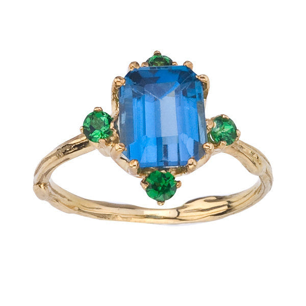 London Blue Topaz and Tsavorite Ring in yellow gold. Vintage Inspired, Organic, Nature inspired, Statement Ring