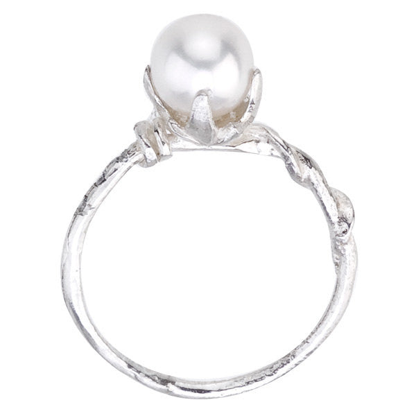 Side view of Vine and Pearl Gold Ring in recycled 18K white gold.