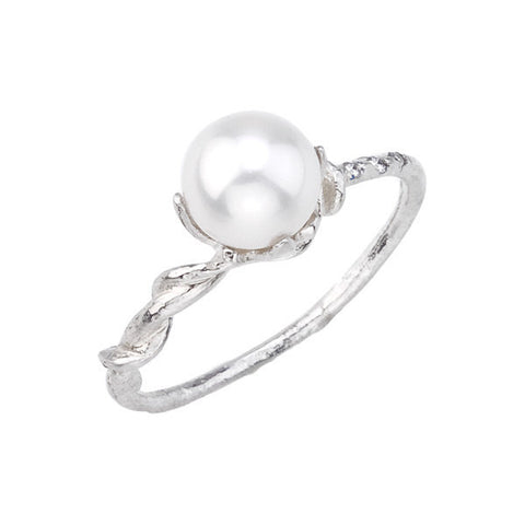 Vine and Pearl Gold Ring with diamond accents. Designed by Barbara Polinsky.