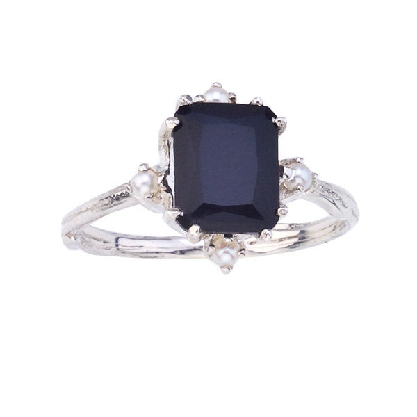 Emerald cut black onyx cocktail ring accented with freshwater pearls.  18K recycled gold.